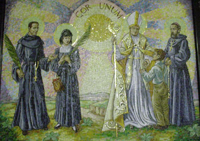 Saints of the Order. Mosaic in the General House of the Augustinian Recollects in Rome, Italy. From left to right, Vicente Soler, Magdalena de Nagasaki, Thomas de Villanueva y Ezekiel Moreno. The most distinguished recollects have in common lives whose history has important missionary elements.